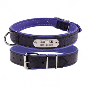 Personalised Handcrafted Genuine Leather Collar With Chrome Buckle and  Anodized Aluminium Name Plate