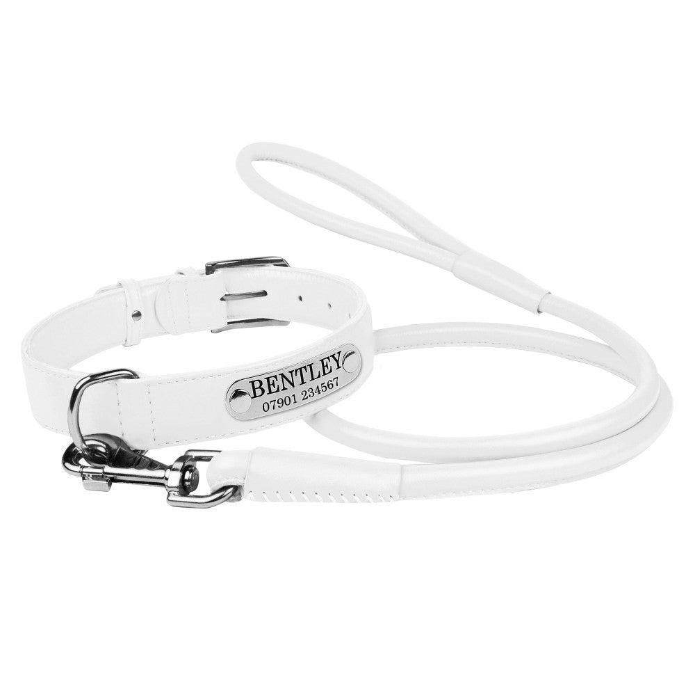 Personalised Handcrafted Genuine White Leather Dog Collar and Leash Set