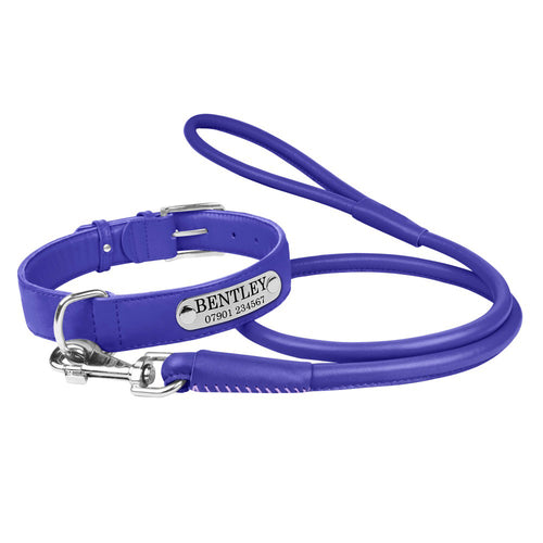 Personalised Handcrafted Genuine Purple Leather Dog Collar and Leash Set