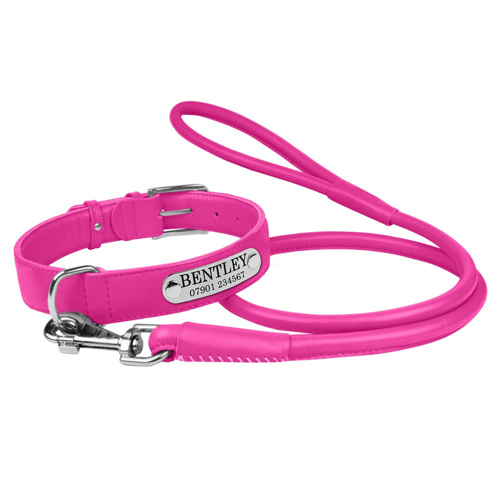 Personalised Handcrafted Genuine Pink Leather Dog Collar and Leash Set