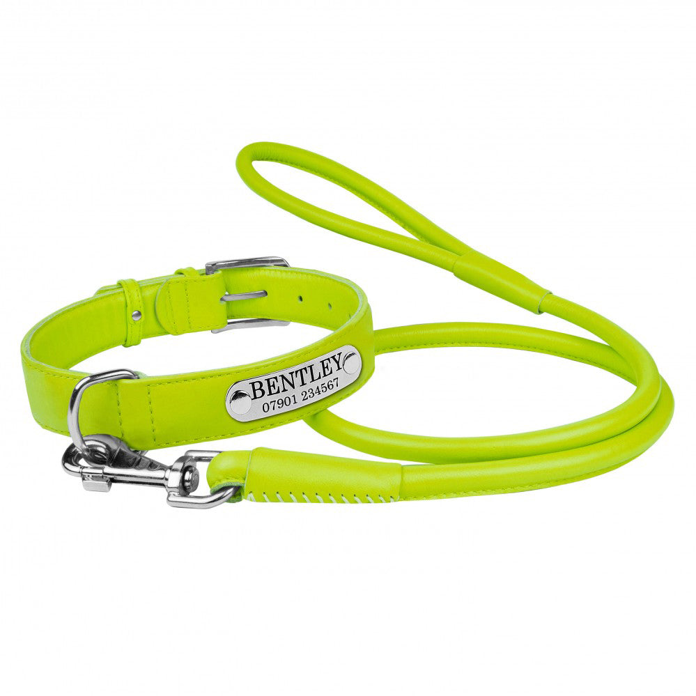 Personalised Handcrafted Genuine Lime Green Leather Dog Collar and Leash Set