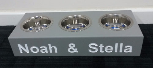 'The Westminster' Standard Height Personalised Wooden Triple Bowl Feeding Station