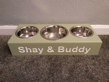 'The Knightsbridge' Standard Height Personalised Wooden Triple Mixed Bowl Feeding Station