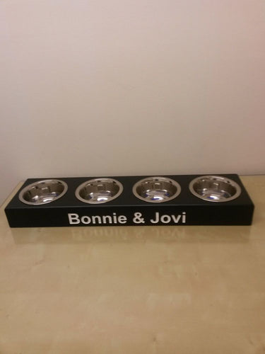 'The Bayswater' Minimal Height Personalised Wooden Four Bowl Feeding Station