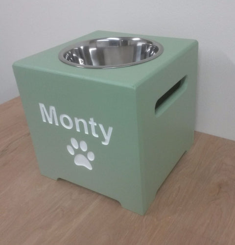 'The Chelsea' Elevated Height Personalised Wooden Single Bowl Feeding Station