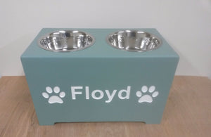'The Belgravia' Elevated Height Personalised Wooden Double Bowl Feeding Station