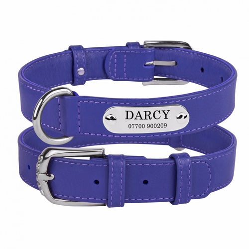 Personalised Handcrafted Purple Genuine Leather Dog Collar