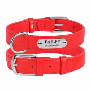 Personalised Handcrafted Red Genuine Leather Dog Collar