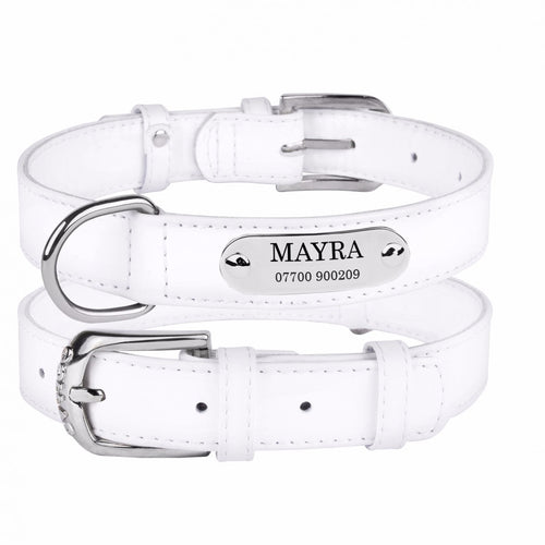 Personalised Handcrafted White Genuine Leather Dog Collar