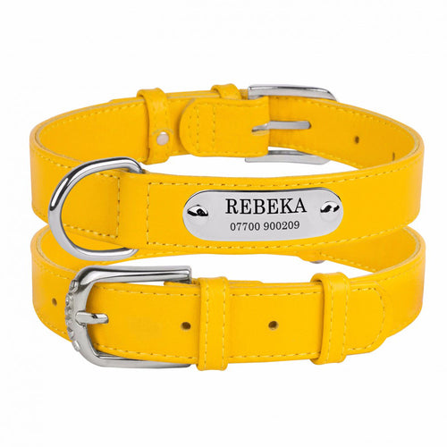 Personalised Handcrafted Yellow Genuine Leather Dog Collar