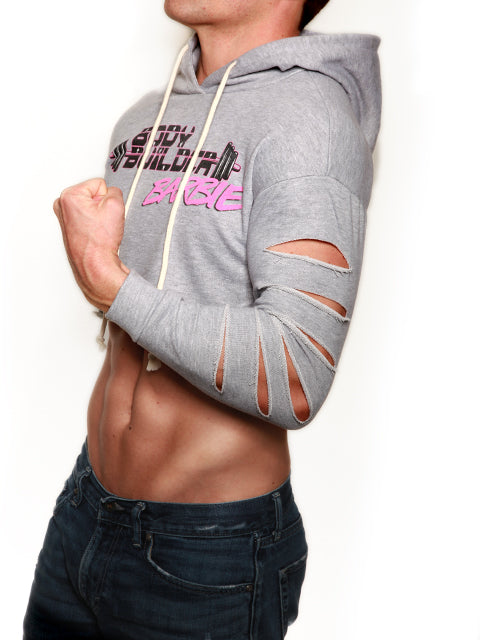 Body Builder Barbie Crop Top Hoodie