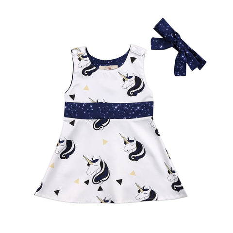 2f6f61ea6902 Blue Unicorns Sleeveless Dress and Headband