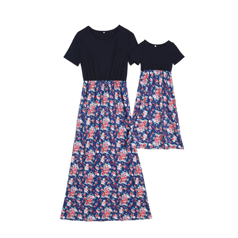 f5bfc3b00bb1 Maxi Mother and Daughter Matching Short Sleeves Dress with Floral Print