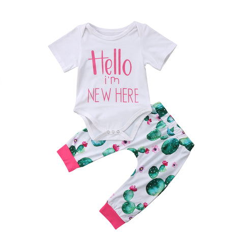 c506fada422 Lovely Short Sleeves Graphic Bodysuit and Cactus Print Pants 2 Piece Set
