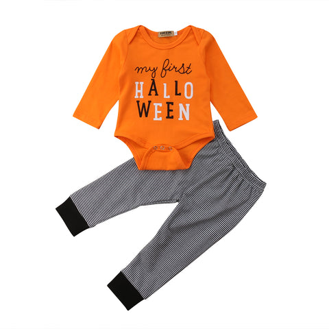 31b79f6b185 My First Halloween Bodysuit and Striped Pants with Pumpkin Applique