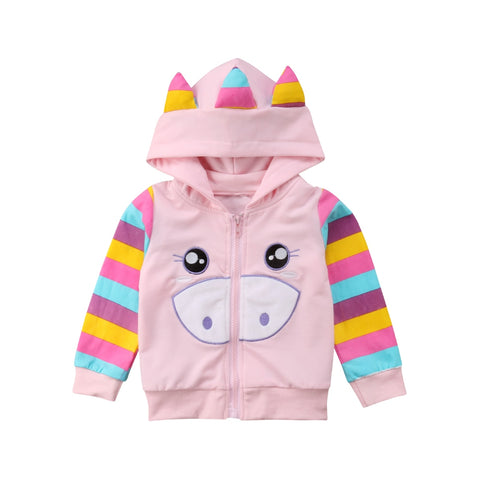 0b1c729b1cc4 Unicorn Zippered Sweatshirt Jacket with Hood and Rainbow Colors