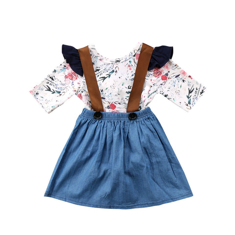 Floral 3 4 Length Sleeves Bodysuit and Denim Overall Skirt 2 Piece Set 9459f9b51