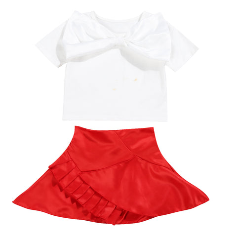ae292cde4e2a White and Red Short Sleeves Top with Large Bow and Skirt with Ruffles 2  Piece Set