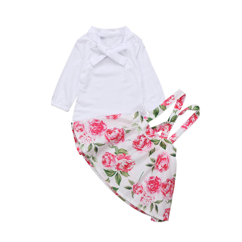 Long Sleeves and Tie-up Bow Collar White Top and Overalls Floral Skirt 2  Piece dea492ae5