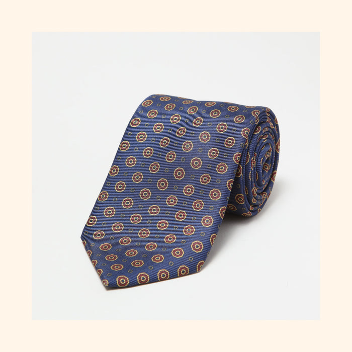 № 016 - Navy Octagon Motif Screen-Printed 50oz Silk Tie