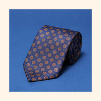 "â""– 016 - Navy Octagon Motif Screen-Printed 50oz Silk Tie"