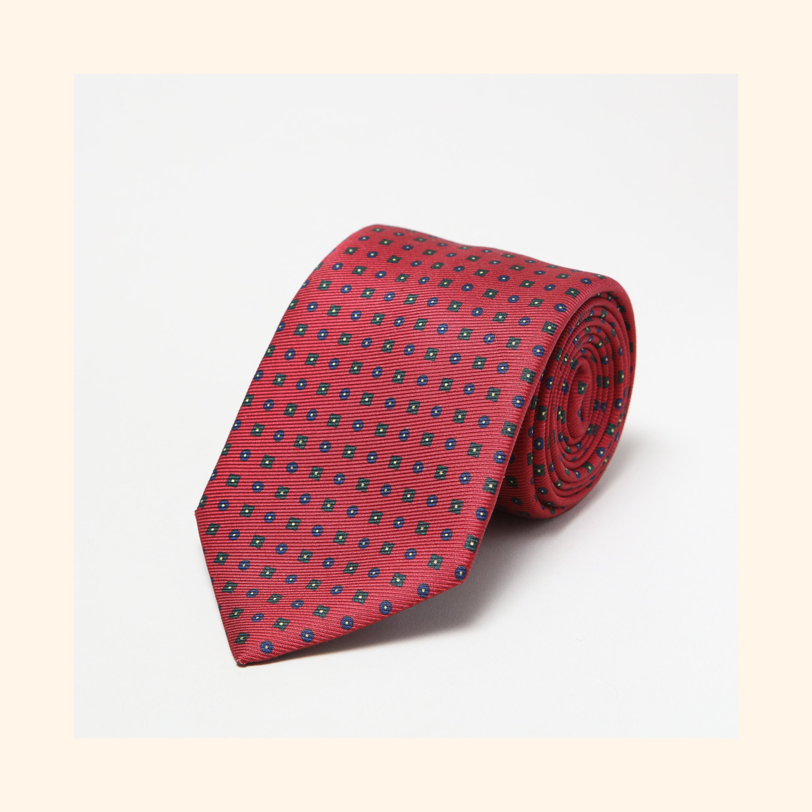 № 017 - Red Neat Motif Screen-Printed 50oz Silk Tie