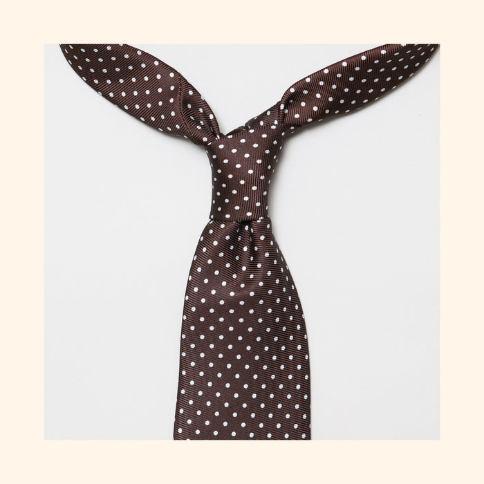 "â""– 022 - Brown Dot Screen-Printed 50oz Silk Tie"