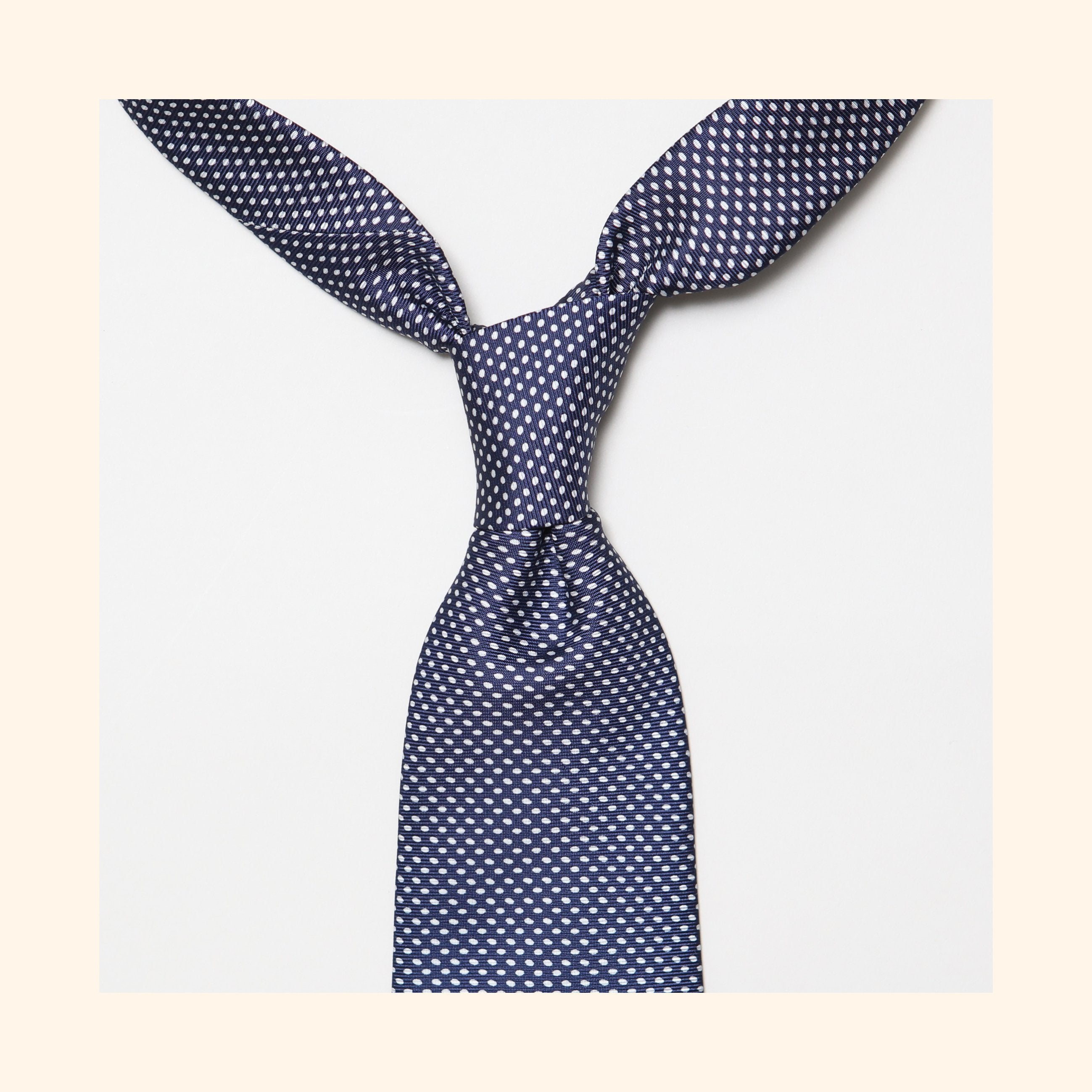 "â""– 025 - Navy Elliptical Screen-Printed 50oz Silk Tie"