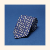 "â""– 029 - Blue/Ivory Hexagon Paisley Screen-Printed Wool Challis Tie"