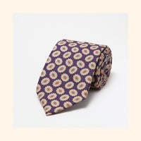 № 036 - Purple/Gold Abstract Floral Screen-Printed Wool Challis Tie