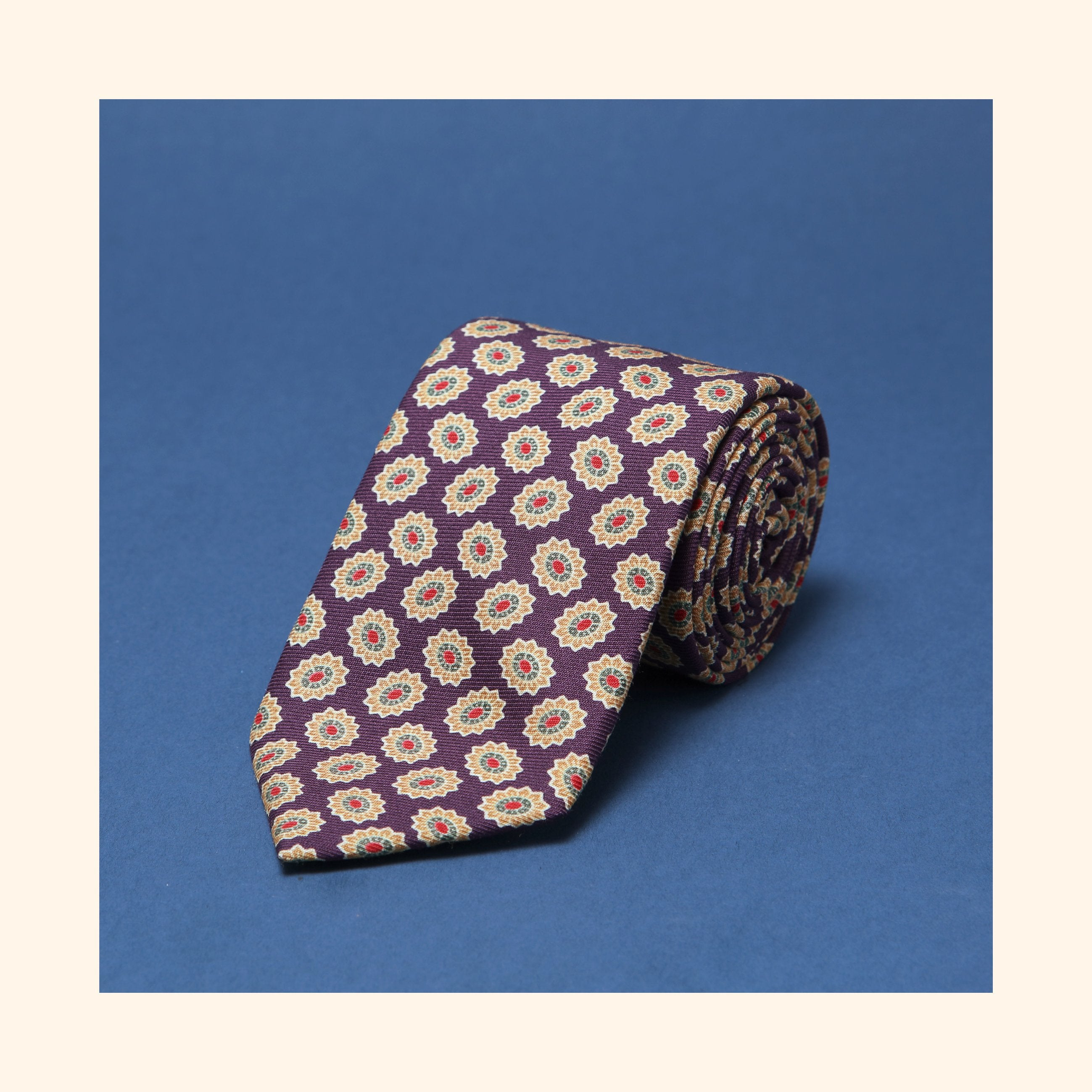 "â""– 036 - Purple/Gold Abstract Floral Screen-Printed Wool Challis Tie"
