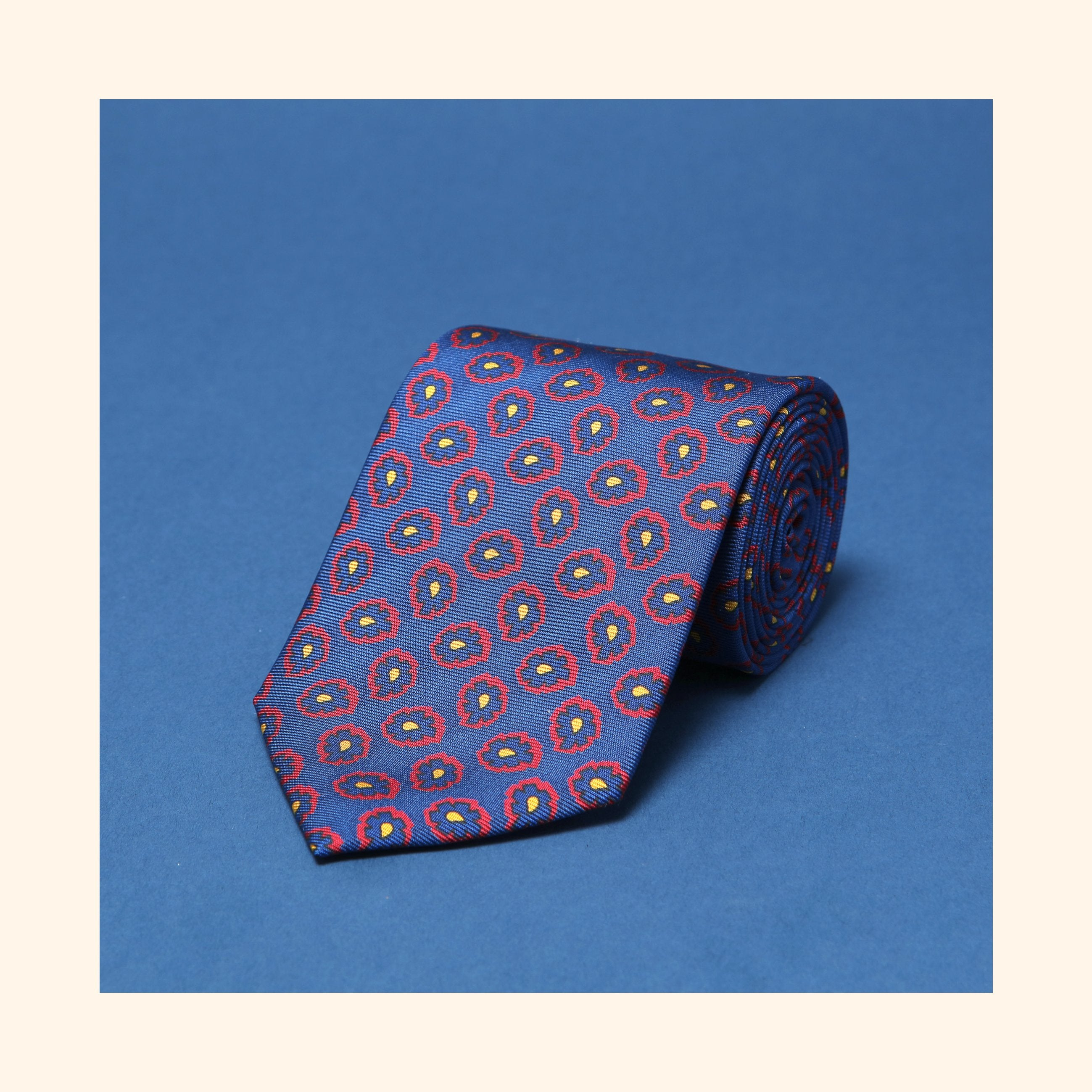 "â""– 037 - Blue Abstract Paisley Screen-Printed 36oz Silk Tie"