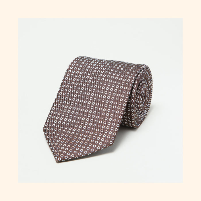 № 038 - Brown Polo Screen-Printed 50oz Silk Tie
