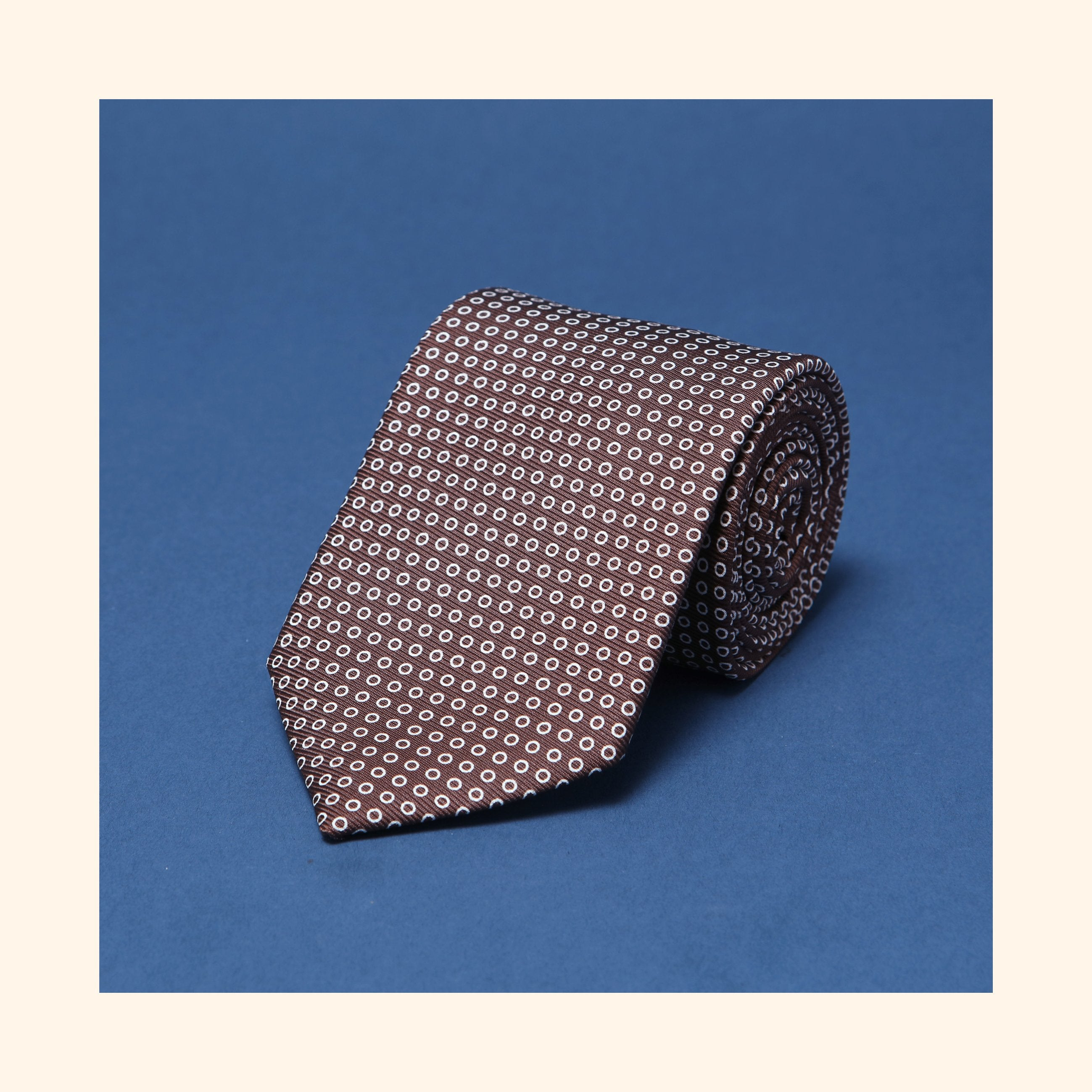 "â""– 038 - Brown Polo Screen-Printed 50oz Silk Tie"