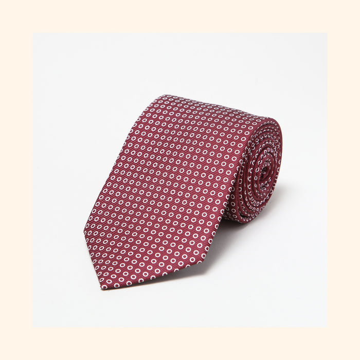 № 040 - Burgundy Polo Screen-Printed 50oz Silk Tie