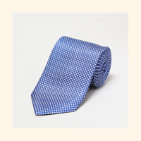 № 042 - Blue Basket Weave Screen-Printed 50oz Silk Tie