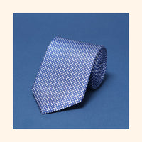 "â""– 042 - Blue Basket Weave Screen-Printed 50oz Silk Tie"