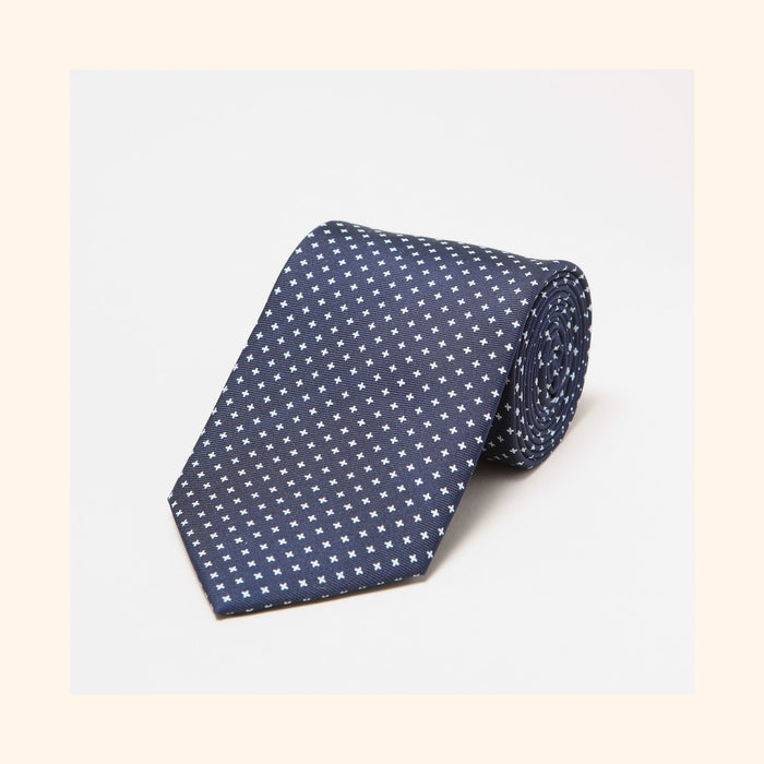 № 043 - Navy Small White Cross Screen-Printed 50oz Silk Tie