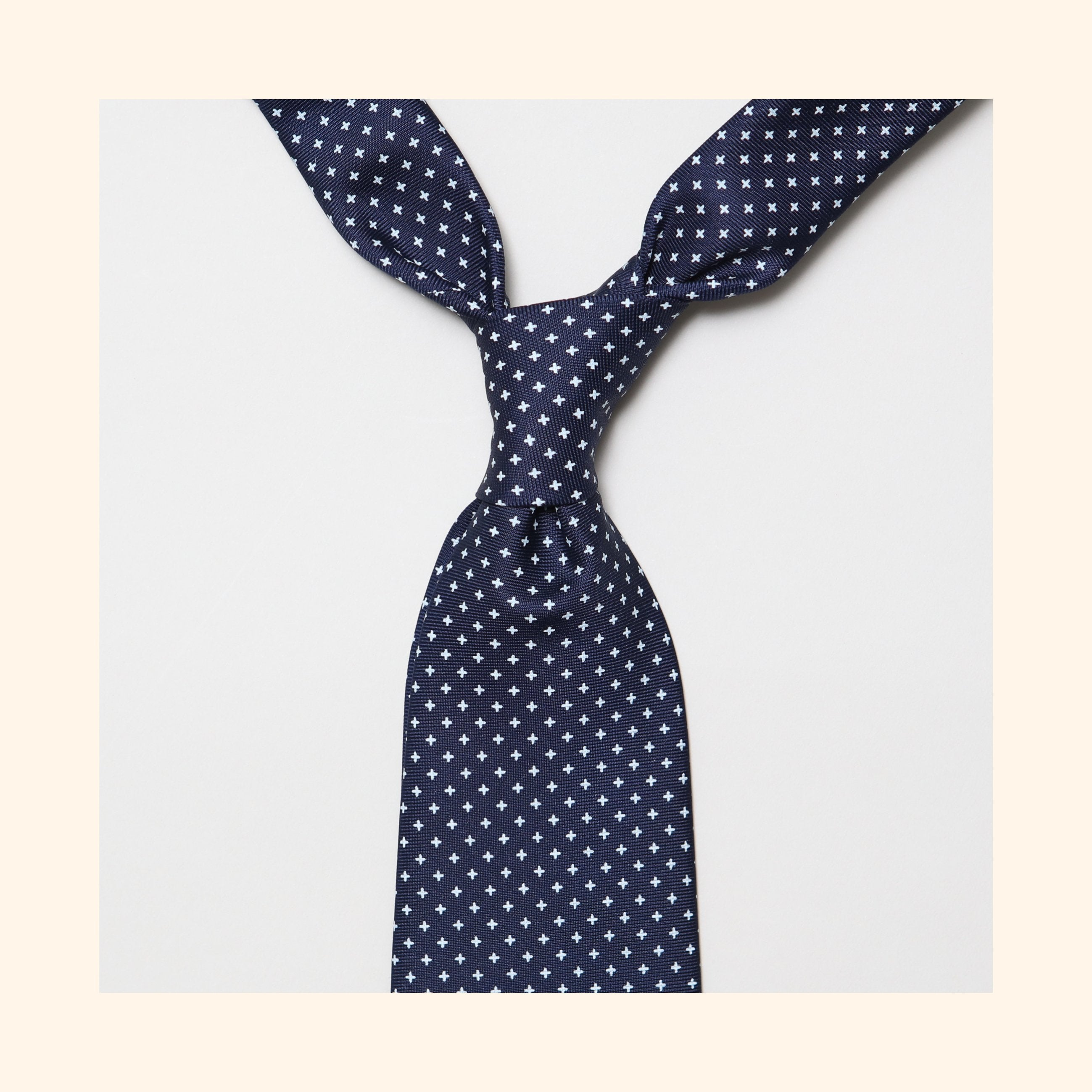 "â""– 043 - Navy Small White Cross Screen-Printed 50oz Silk Tie"