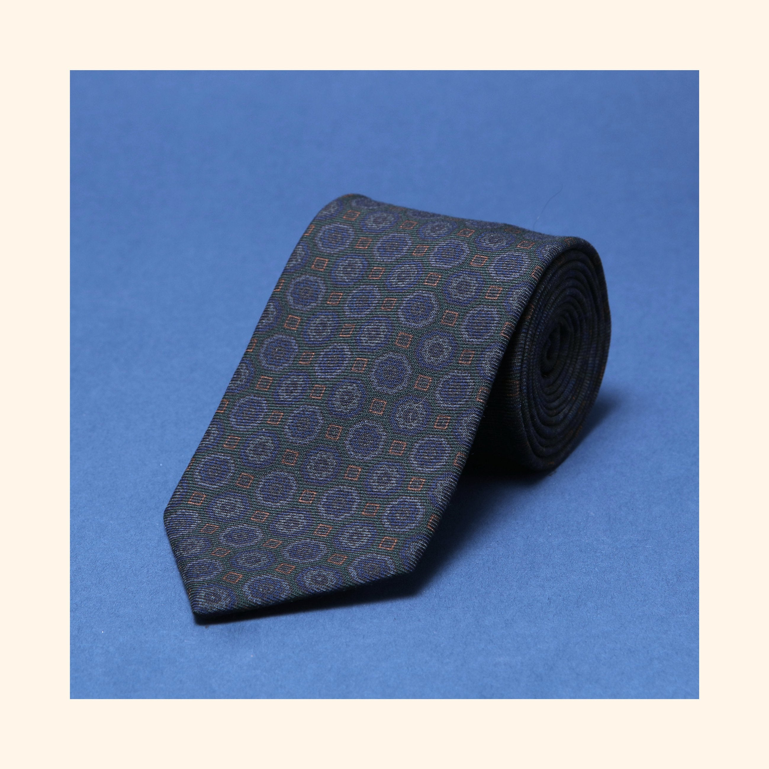 "â""– 047 - Dark Green Geometric Ghost Screen-Printed Wool Challis Tie"