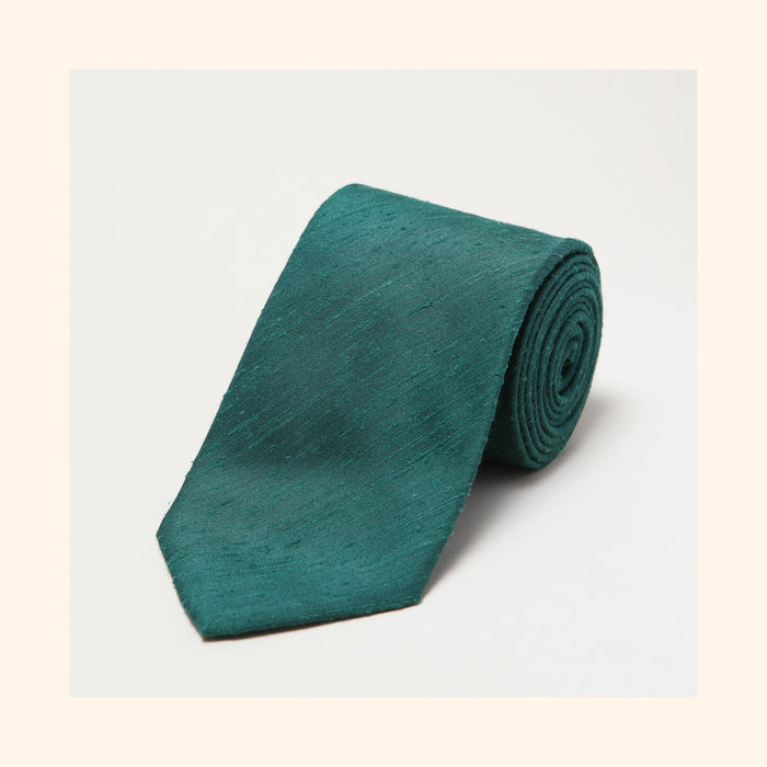 № 053 - Green Plain Shantung Silk Tie