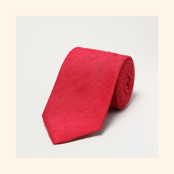 № 055 - Red Plain Shantung Silk Tie