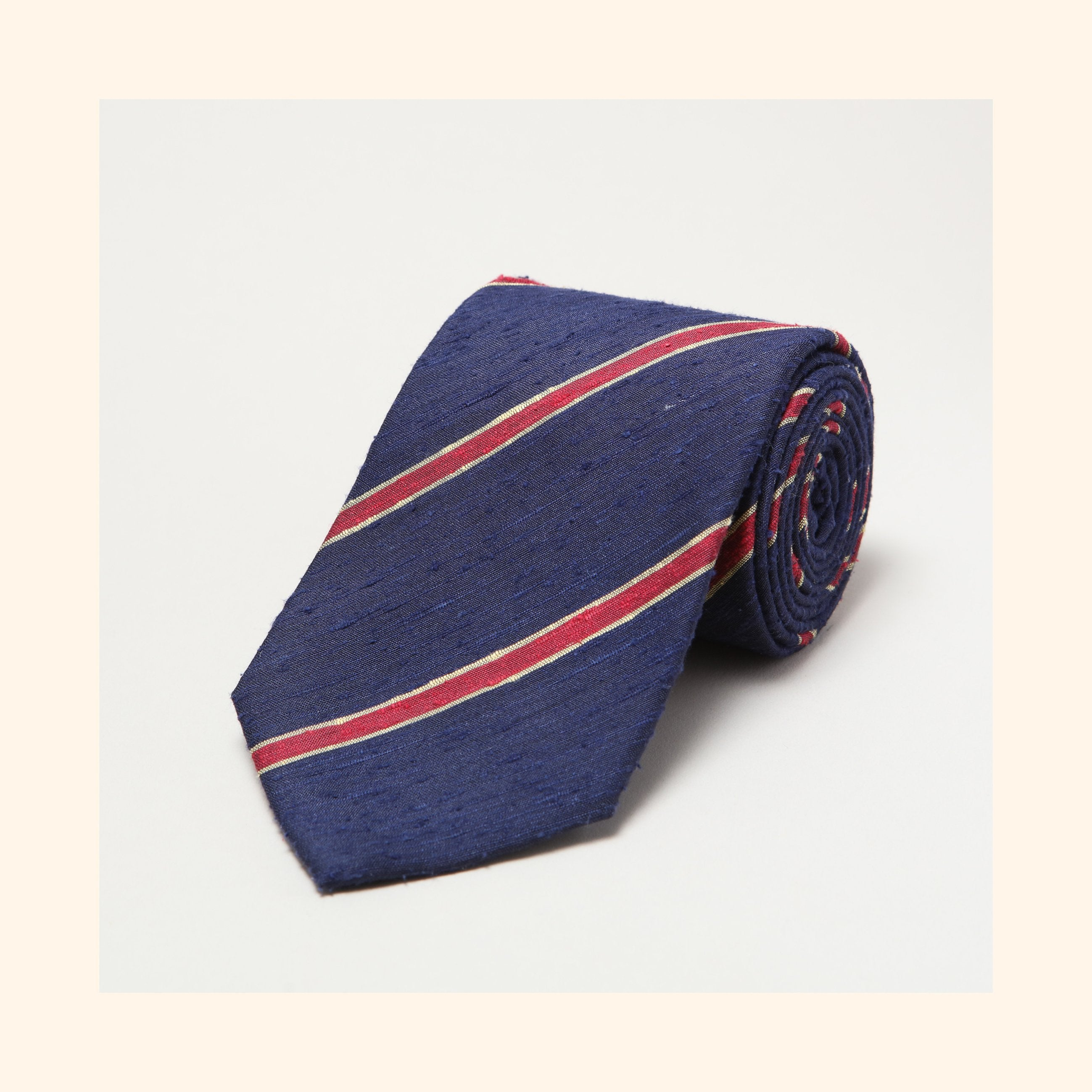 № 060 - Navy/Red Bordered Stripe Shantung Silk Tie