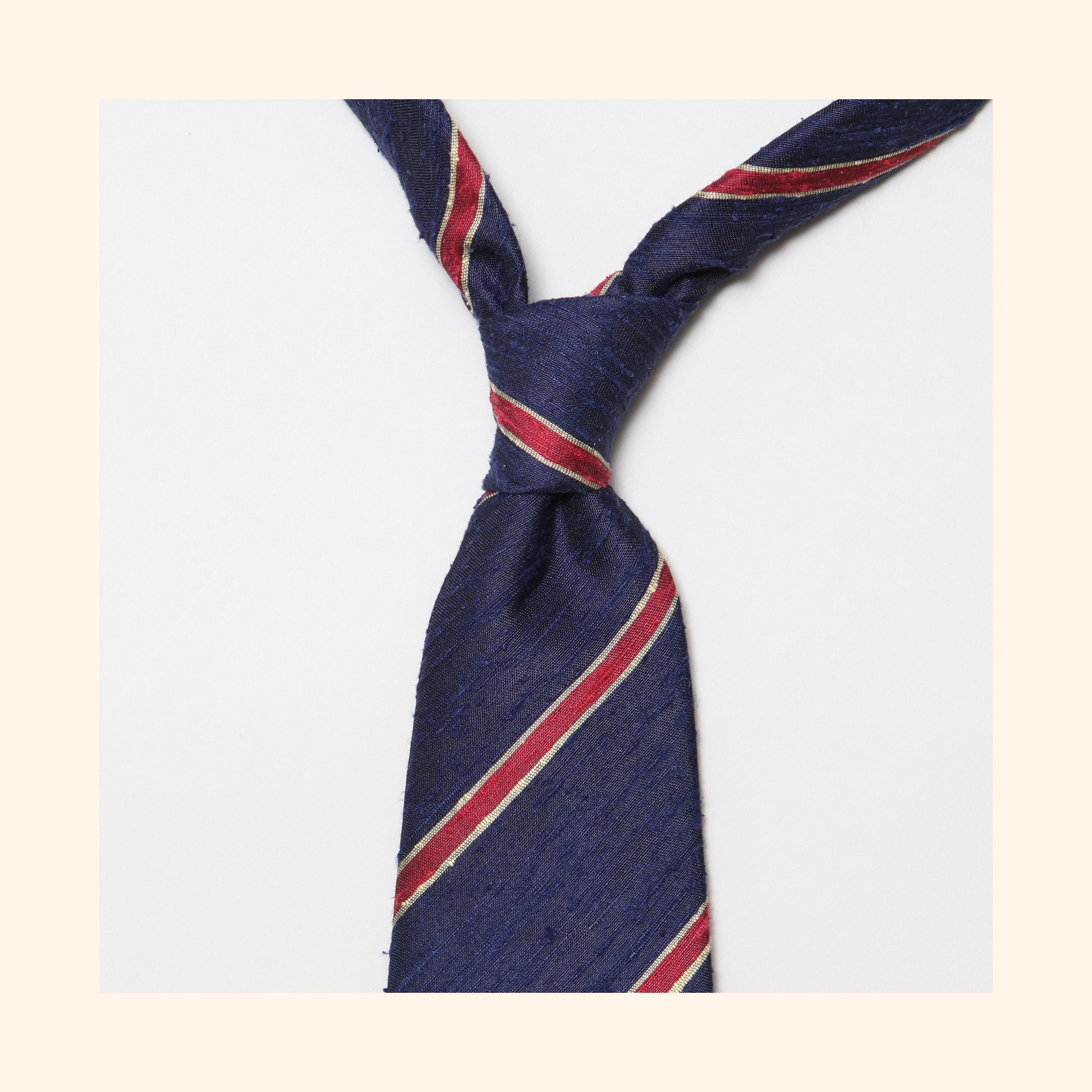 "â""– 060 - Navy/Red Bordered Stripe Shantung Silk Tie"