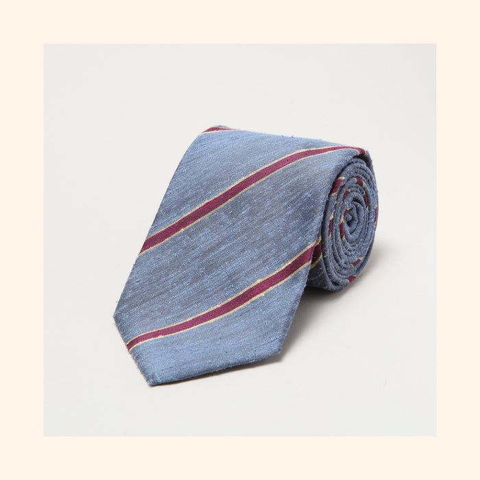 № 062 - Corsican Blue/Burgundy Bordered Stripe Shantung Silk Tie