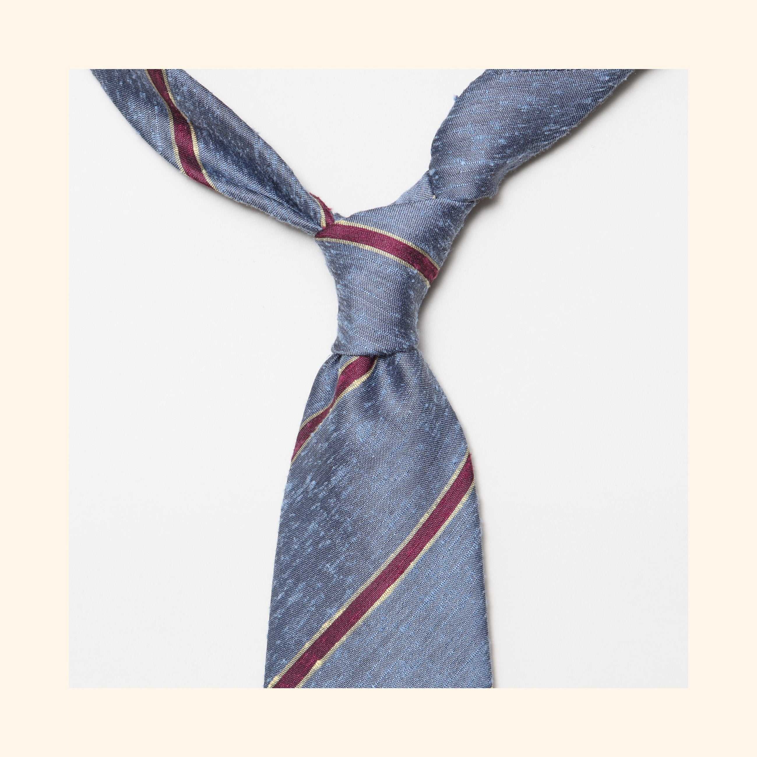 "â""– 062 - Corsican Blue/Burgundy Bordered Stripe Shantung Silk Tie"