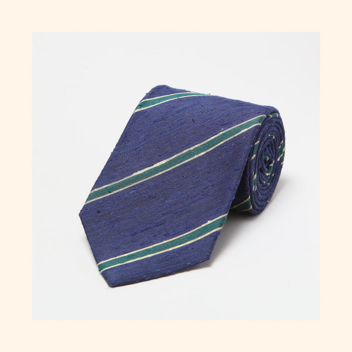 № 063 - Navy/Green Bordered Stripe Shantung Silk Tie