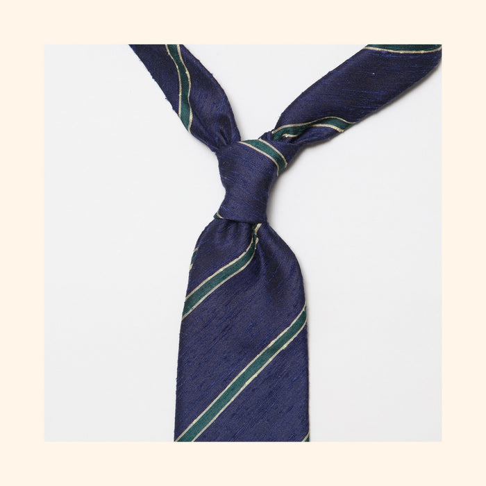 "â""– 063 - Navy/Green Bordered Stripe Shantung Silk Tie"