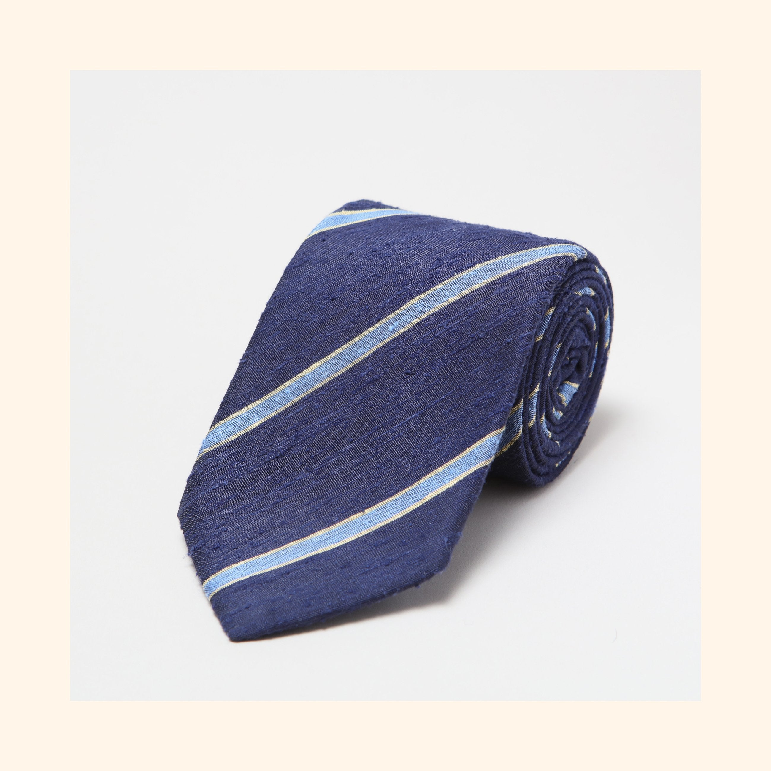 № 064 - Navy/Sky Blue Bordered Stripe Shantung Silk Tie