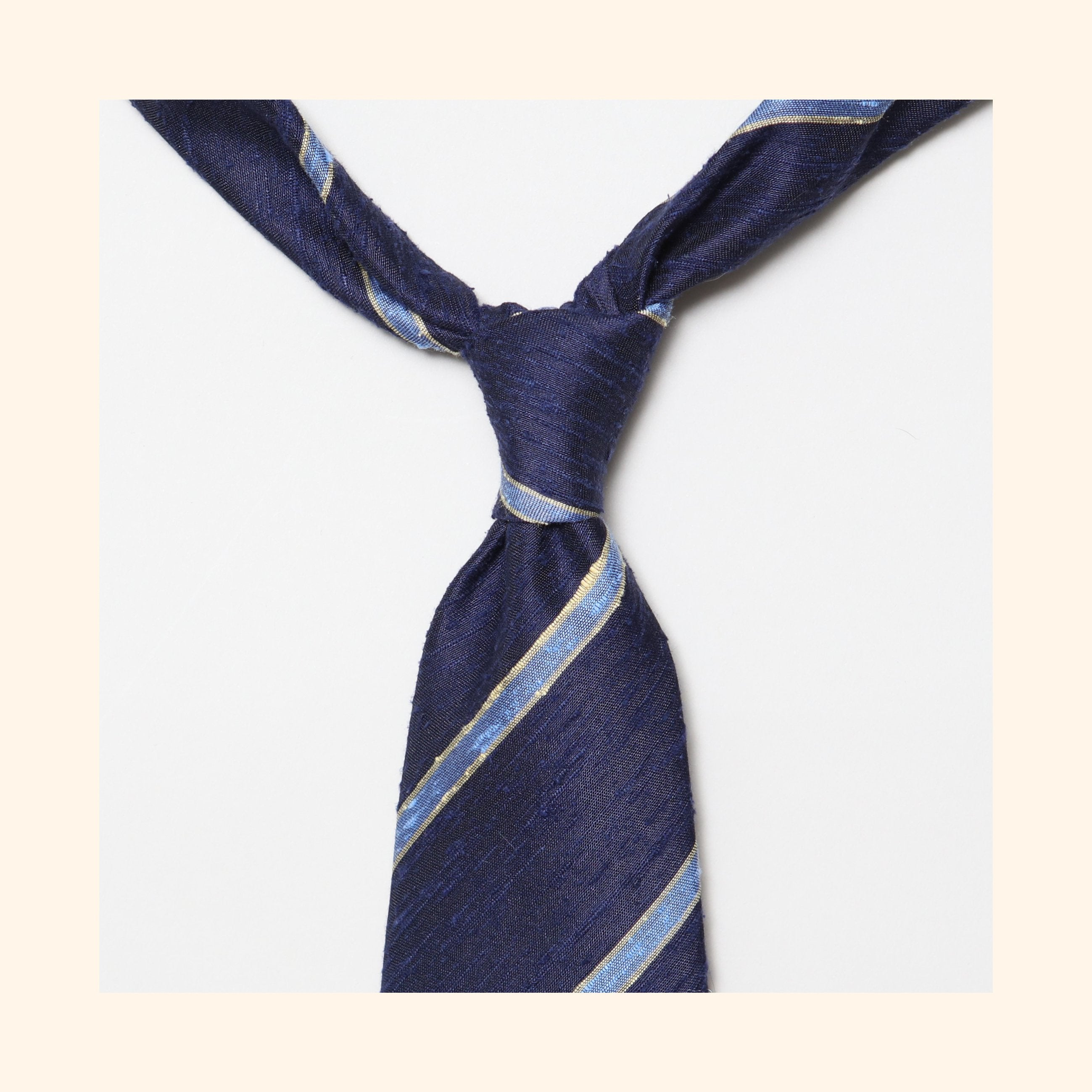 "â""– 064 - Navy/Sky Blue Bordered Stripe Shantung Silk Tie"
